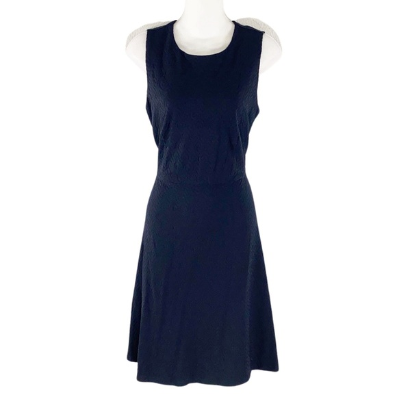 J. McLaughlin navy textured sleeveless flare dress